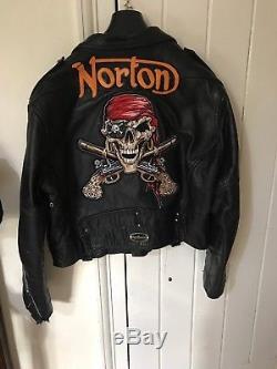 Vivienne Westwood Norton Leather Motorcycle Jacket Skull Crossbones / Teddy Boy