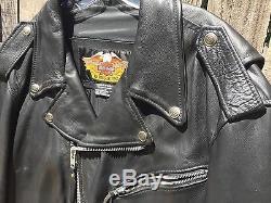 Vtg Harley Davidson Terminator/Fat Boy/Rocker BLK 2XLLLeather Motorcycle Jacket
