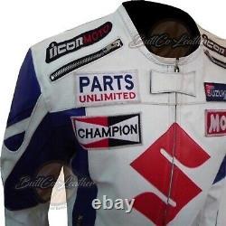 WHITE 4269 SUZUKI Leather MOTORBIKE Jacket Biker GEAR Motorcycle Armoured Coat