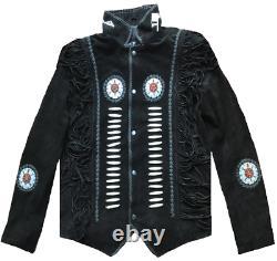Western Indian Jacket Biker Bones Leather Fringed Braided Riding Indian Jacket