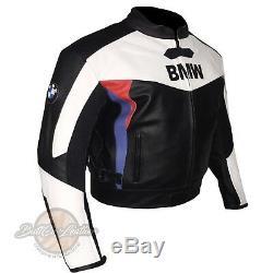 White & Black BMW 3878 Motorbike Biker Leather Jacket Motorcycle Armoured Coat
