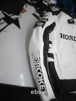 White Honda Motorcycle Racing Motor Bike Leather Jacket, CE Approved Padding