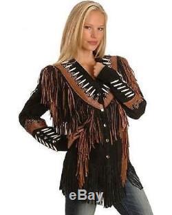 Women westren fringe jackets, Women brown fringe jacket, Women cow boy suede