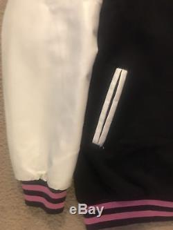 XL Billionaire Boys Club BBC Flamingo Varsity Jacket Bape Leather Sleeve Satin