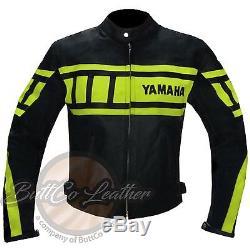 YAMAHA 0120 Fluorescent Motorbike Motorcycle Biker Racing REAL Leather Jacket