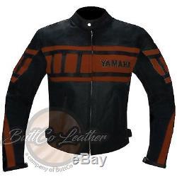YAMAHA 0120 Motorbike Armour Motorcycle Biker Racing REAL Orange Leather Jacket