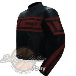 YAMAHA 0120 Motorbike Armour Motorcycle Biker Racing REAL Red Leather Jacket
