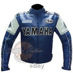 YAMAHA 0820 Motorbike Motorcycle Biker Armoured Racing Blue REAL Leather Jacket