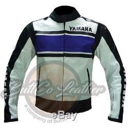 YAMAHA 5241 BLUE Leather Biker mens Motor cycle Motor bike CHEAP Cowhide JACKET