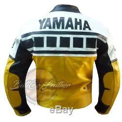 YAMAHA 6728 Motorbike Motorcycle Biker Yellow Genuine CowhideLeather Jacket