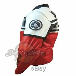 YAMAHA 6728 Red Motorbike Motorcycle Biker Cowhide Leather Armoured Jacket Coat