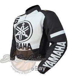 YAMAHA 6 Motorbike Biker Racing Gun Metal Real Leather Jacket for motorcyclist