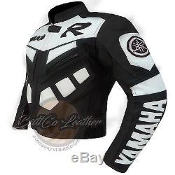 YAMAHA R Black Motorbike Motorcycle Biker Armoured REAL Cowhide Leather Jacket