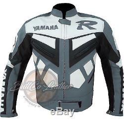 YAMAHA R Motorbike Motorcycle Biker Riding Armour REAL Grey Moto Leather Jacket