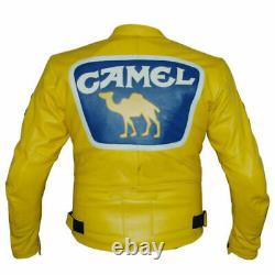 YELLOW CAMEL Motorbike/Motorcycle Leather Jacket Men Racing Biker Leather Jacket