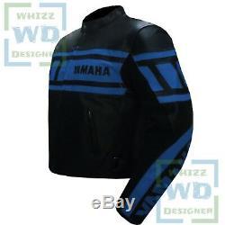 Yamaha 0120 Blue Cowhide Armoured Leather Jacket Motorbike Biker Motorcycle Coat