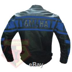 Yamaha 0120 Blue Motorbike Motorcycle Biker Cowhide Leather Armoured Jacket