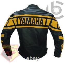Yamaha 0120 Yellow Motorbike Cowhide Leather Motorcycle Bikers Armoured Jacket