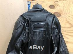 Yamaha 48 Size One Piece Leather Race Suit Grey And Black Used Racing Jacket