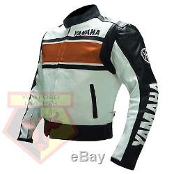Yamaha 5241 Orange Motorcycle Motorbike Biker Cowhide Leather Armoured Jacket