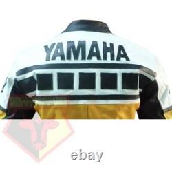 Yamaha 6728 Yellow Motorbike Cowhide Leather Motorcycle Bikers Armoured Jacket