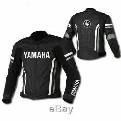 Yamaha Black Motorbike Cowhide Leather Motorcycle Leather Armour Jacket