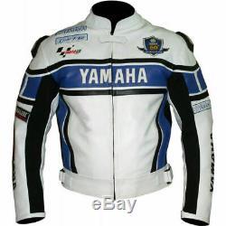 Yamaha Blue Motorbike Cowhide Leather Motorcycle Leather Armour Jacket