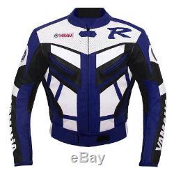 Yamaha Blue Racing Leather Jacket, Perforated Motorcycle Leather R1 Jacket