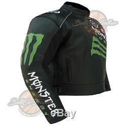 Yamaha MONSTER 0121 Biker Cowhide Leather Motorcycle Jacket BLACK Racing Gear