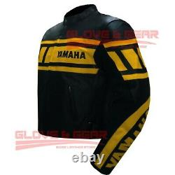 Yamaha Motogp Motorbike Riding Racing Yellow And Black Cowhide Leather Jacket