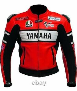 Yamaha Motor Bike Motor GP Racing Motor Bike Leather Jacket, CE Approved Padding
