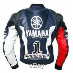Yamaha Motorcycle Cowhide Leather Street Racing Motorbike Jacket