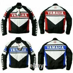 Yamaha Motorcycle Racing Motor Bike Leather Jacket, CE Approved Padding