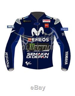 Yamaha Movistar ENEOS MotoGP 2018 CE Protection Motorbike Leather Biker Jacket