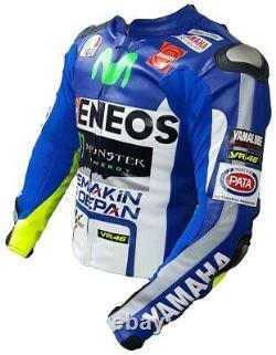 Yamaha Movistar Motorbike Original Cowhide Leather Jacket With CE Protections