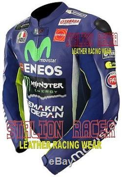 Yamaha Movistar VR46 Rossi Motorbike Racing Cowhide Leather Jacket