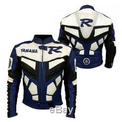 Yamaha R1 Blue Racing Leather Motorcycle Jacket with hump All Sizes