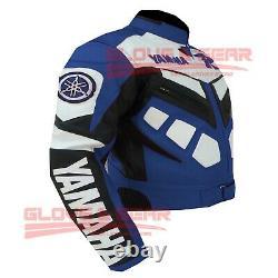 Yamaha R Blue Motogp Motorbike Jacket Motorcycle Cowhide Leather Jacket