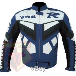 Yamaha R Blue Motorbike Motorcycle Biker Cowhide Leather Armoured Jacket