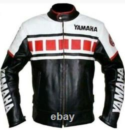 Yamaha Red Motorcycle Racing Motor Bike Leather Jacket, CE Approved Padding