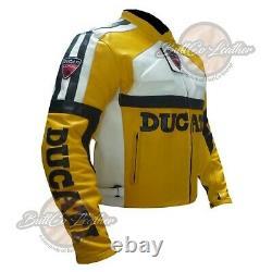 Yellow Biker GEAR Leather Jacket Ducati 3039 Motorcycle Motorbike Armoured Coat